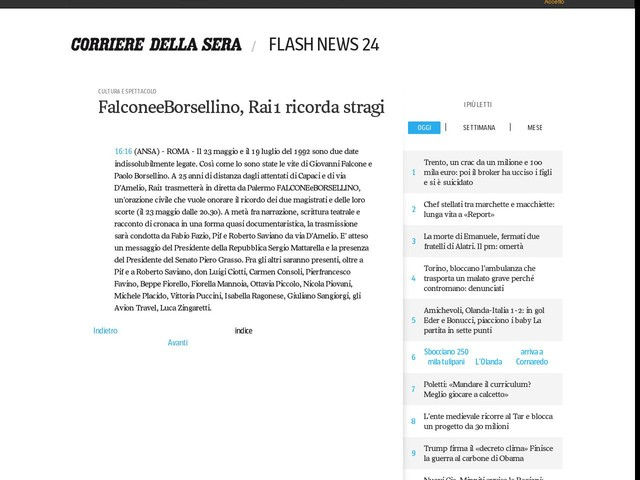FalconeeBorsellino, Rai1 ricorda stragi