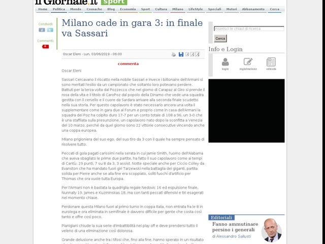 Milano cade in gara 3: in finale va Sassari