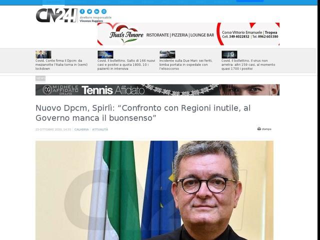 """Nuovo Dpcm, Spirlì: """"Confronto con Regioni inutile, al Governo manca il buonsenso"""""""