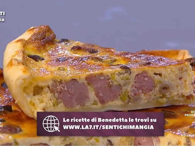 Nuove ricette Benedetta Parodi: torta salata funghi salsiccia e polpettine di parmigiano