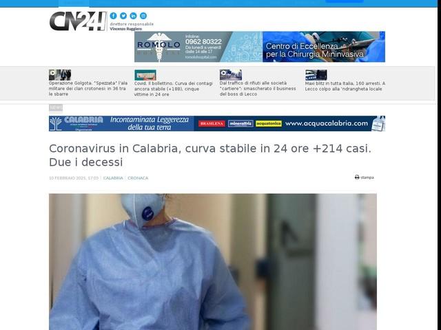 Coronavirus in Calabria, curva stabile in 24 ore +214 casi. Due i decessi