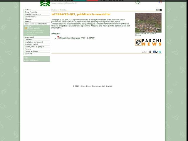 PN Val Grande - InTERRACED-NET, pubblicata la newsletter