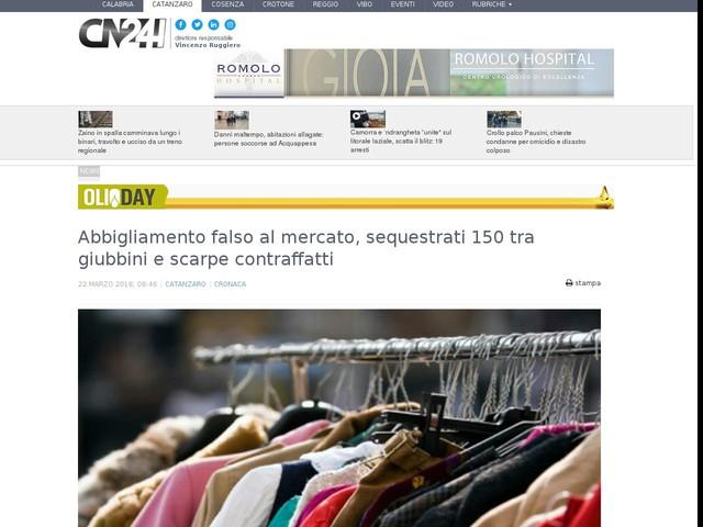 Abbigliamento falso al mercato, sequestrati 150 tra giubbini e scarpe contraffatti