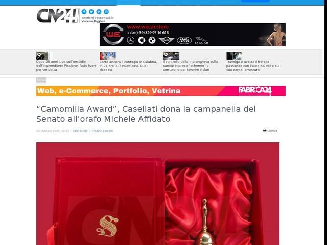 """""""Camomilla Award"""", Casellati dona la campanella del Senato all'orafo Michele Affidato"""