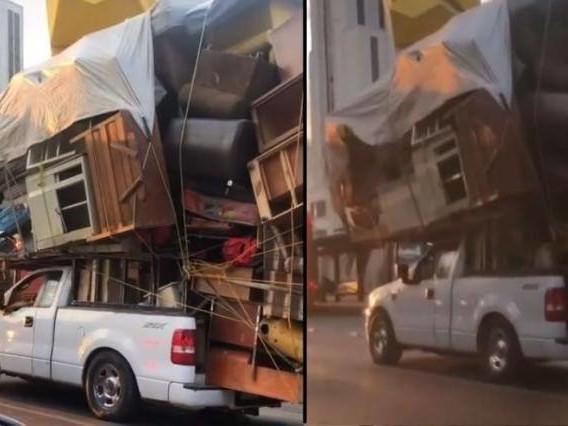Il trasloco con il pick-up: l'incredibile carico sulle strade del Messico