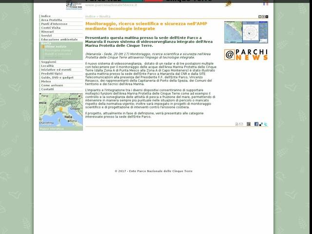 PN Cinque Terre - Monitoraggio, ricerca scientifica e sicurezza nell'AMP mediante tecnologie integrate