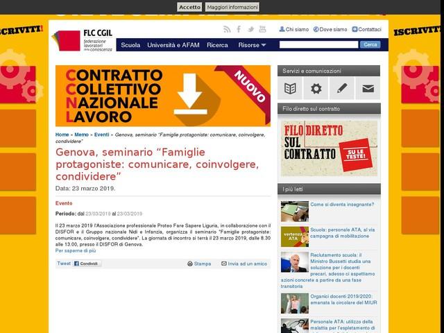"""Genova, seminario """"Famiglie protagoniste: comunicare, coinvolgere, condividere"""""""