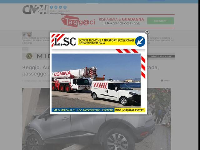 Reggio. Auto sbanda e rimane in bilico a bordo strada, passeggeri salvati dai Vvf