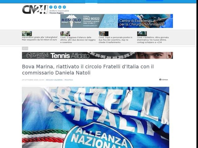 Bova Marina, riattivato il circolo Fratelli d'Italia con il commissario Daniela Natoli