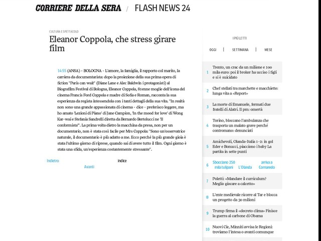 Eleanor Coppola, che stress girare film