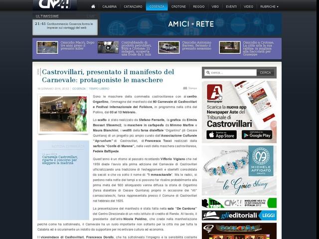 Castrovillari, presentato il manifesto del Carnevale: protagoniste le maschere