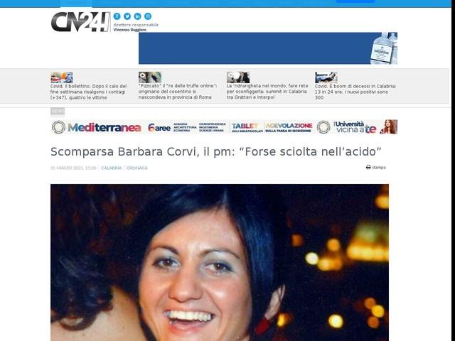 """Scomparsa Barbara Corvi, il pm: """"Forse sciolta nell'acido"""""""