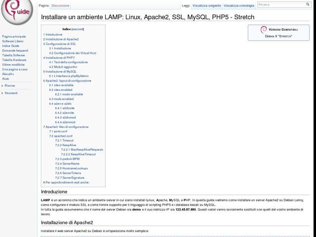 Installare un ambiente LAMP: Linux, Apache2, SSL, MySQL, PHP5 - Stretch