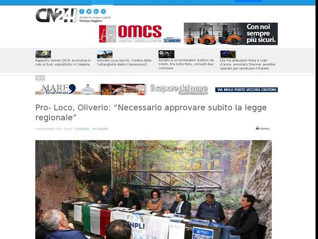 """Pro- Loco, Oliverio: """"Necessario approvare subito la legge regionale"""""""