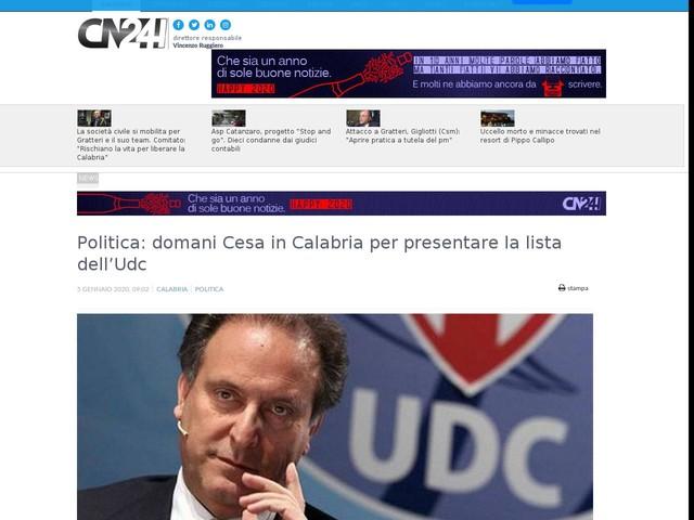 Politica: domani Cesa in Calabria per presentare la lista dell'Udc