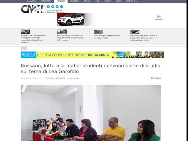 Rossano, lotta alla mafia: studenti ricevono borse di studio sul tema di Lea Garofalo