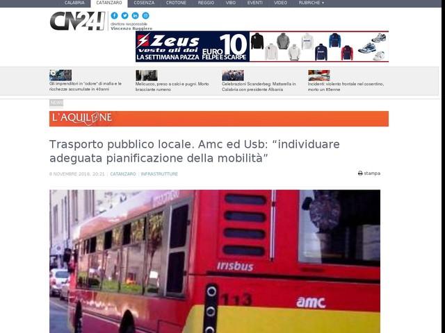 """Trasporto pubblico locale. Amc ed Usb: """"individuare adeguata pianificazione della mobilità"""""""