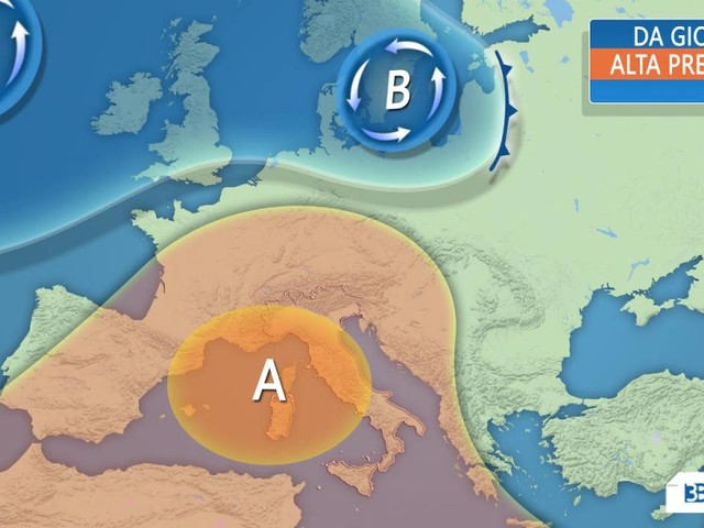 Meteo ITALIA - da giovedì rimonta l'anticiclone, CALDO IN ARRIVO