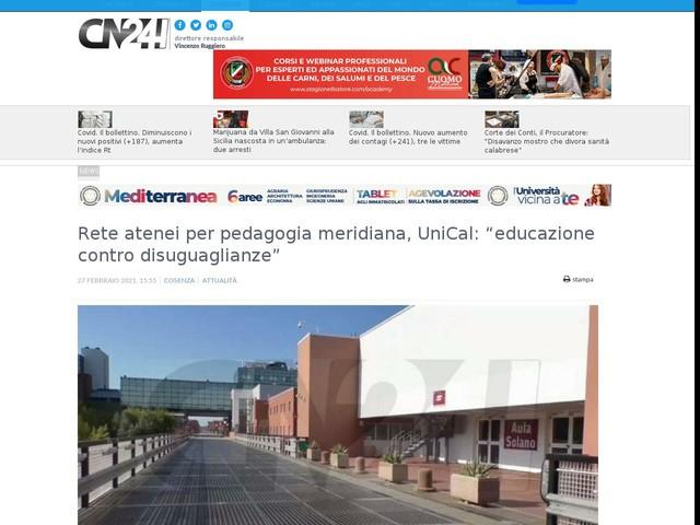 """Rete atenei per pedagogia meridiana, UniCal: """"educazione contro disuguaglianze"""""""