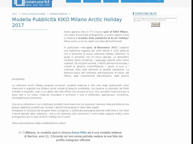 Modella Pubblicità KIKO Milano Arctic Holiday 2017