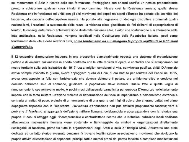"""""""NO alla celebrazione, il 12 settembre a Ronchi, dell'avventura nazionalista fiumana"""""""