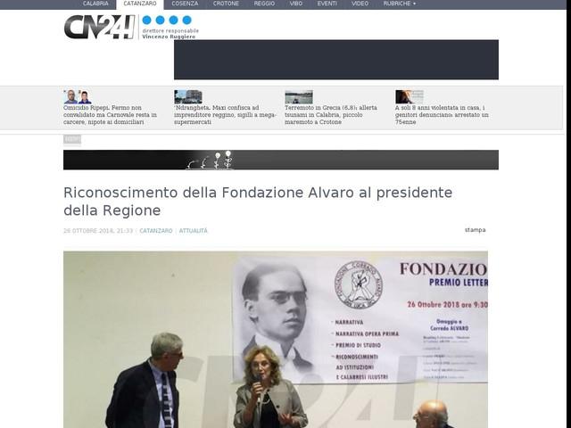 Riconoscimento della Fondazione Alvaro al presidente della Regione