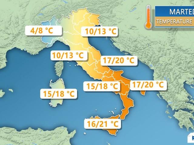 METEO ITALIA. Impennata delle temperature, specie al Centrosud; poi calano