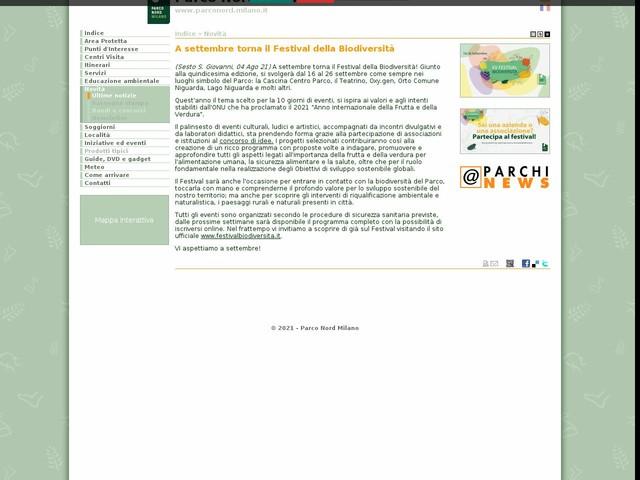 PR Nord Milano - A settembre torna il Festival della Biodiversità