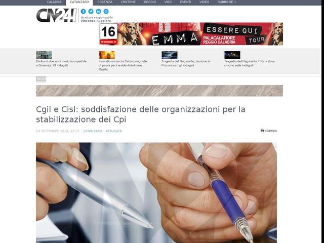 Cgil e Cisl: soddisfazione delle organizzazioni per la stabilizzazione dei Cpi