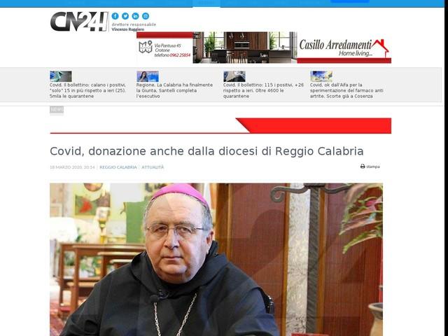 Covid, donazione anche dalla diocesi di Reggio Calabria