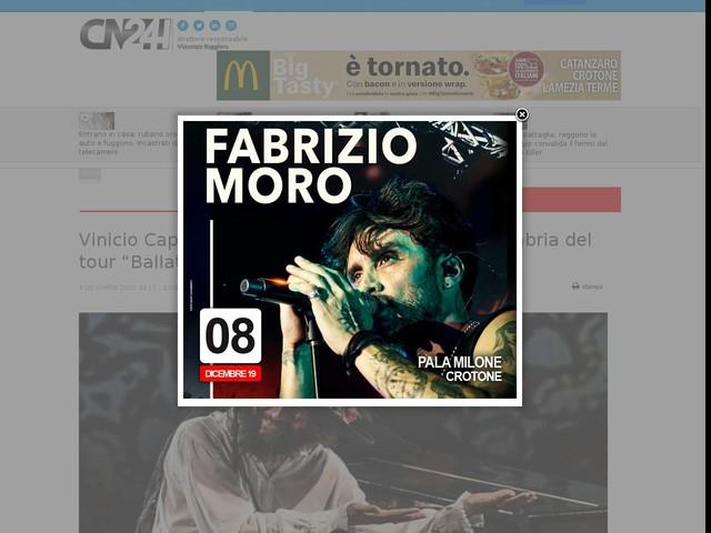 """Vinicio Capossela al Rendano, unica tappa in Calabria del tour """"Ballate per uomini e bestie"""""""