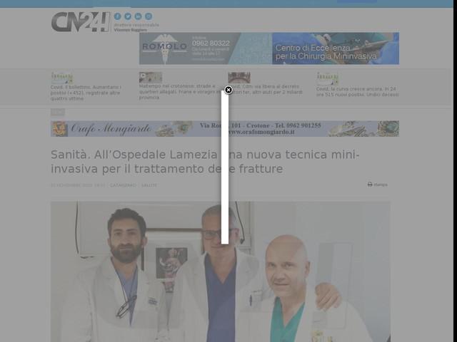 Sanità. All'Ospedale Lamezia una nuova tecnica mini-invasiva per il trattamento delle fratture