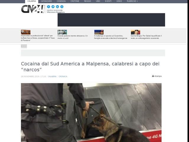 "Cocaina dal Sud America a Malpensa, calabresi a capo dei ""narcos"""