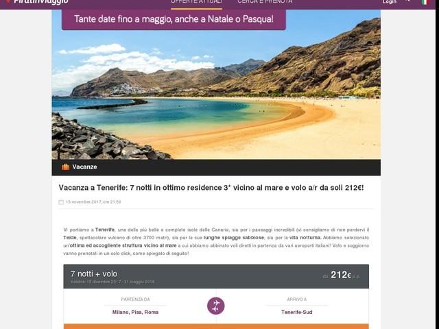 Vacanza a Tenerife: 7 notti in ottimo residence 3* vicino al mare e volo a/r da soli 212€!