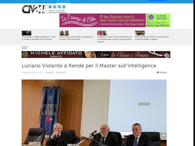 Luciano Violante a Rende per il Master sull'intelligence