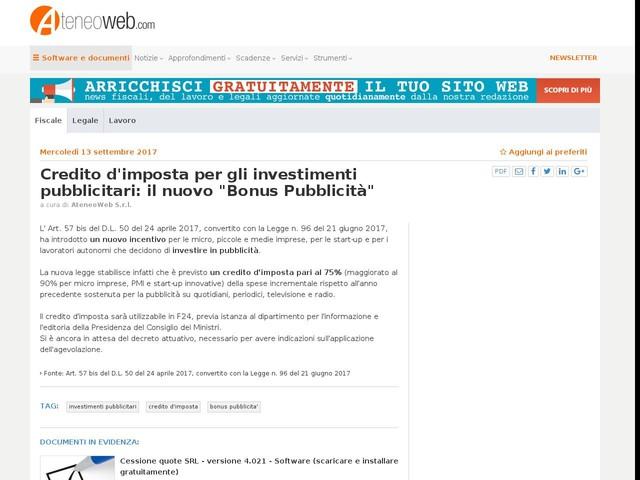"""Credito d'imposta per gli investimenti pubblicitari: il nuovo """"Bonus Pubblicità"""""""