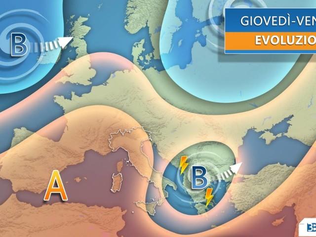 Meteo -- da giovedì l'ANTICICLONE prova a spazzare il VORTICE mediterraneo, le conseguenze