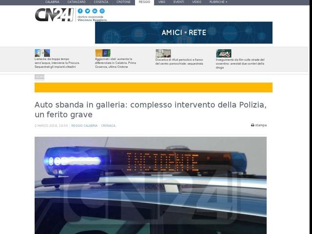 Auto sbanda in galleria: complesso intervento della Polizia, un ferito grave