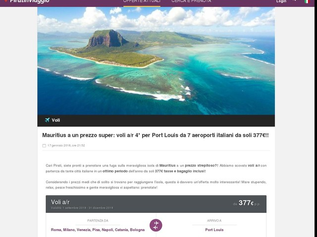 Mauritius a un prezzo super: voli a/r 4* per Port Louis da 7 aeroporti italiani da soli 377€!!