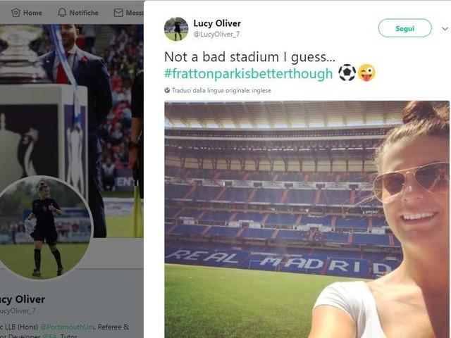 Michael Oliver, il complottismo sulla foto della moglie dell'arbitro di Real Madrid Juve al Bernabeu