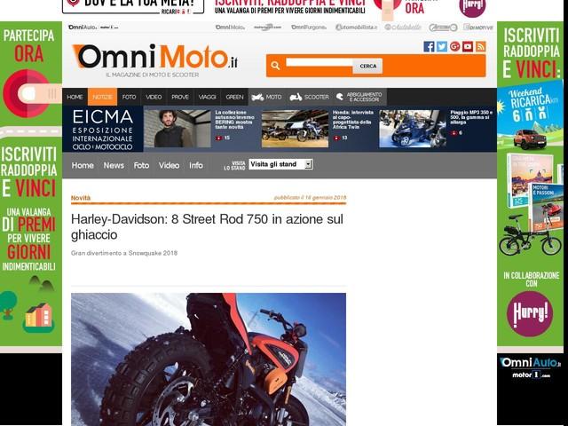 Harley-Davidson: 8 Street Rod 750 in azione sul ghiaccio