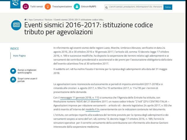 Eventi sismici 2016-2017: istituzione codice tributo per agevolazioni