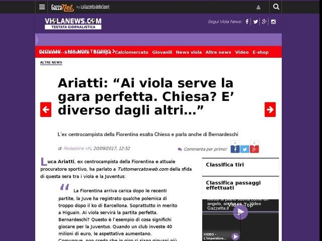 """Ariatti: """"Ai viola serve la gara perfetta. Chiesa? E' diverso dagli altri…"""""""