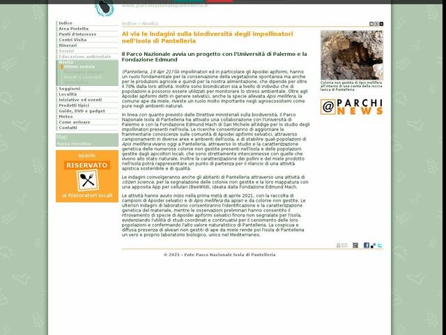 PN Isola di Pantelleria - Al via le indagini sulla biodiversità degli impollinatori nell'Isola di Pantelleria