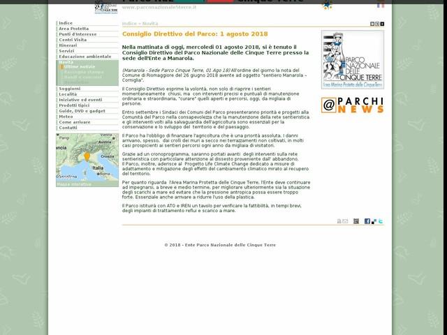 PN Cinque Terre - Consiglio Direttivo del Parco: 1 agosto 2018