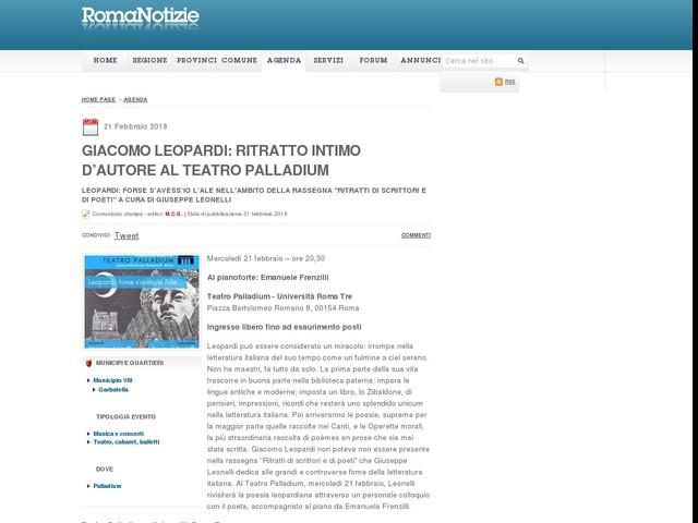 Giacomo Leopardi: ritratto intimo d'autore al Teatro Palladium