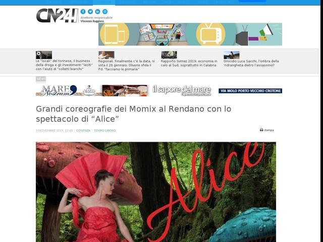 """Grandi coreografie dei Momix al Rendano con lo spettacolo di """"Alice"""""""