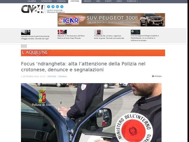 Focus 'ndrangheta: alta l'attenzione della Polizia nel crotonese, denunce e segnalazioni