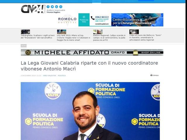La Lega Giovani Calabria riparte con il nuovo coordinatore vibonese Antonio Macrì