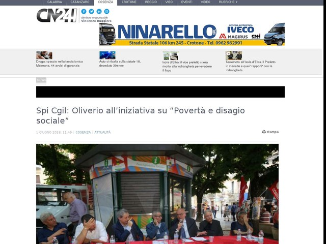 """Spi Cgil: Oliverio all'iniziativa su """"Povertà e disagio sociale"""""""